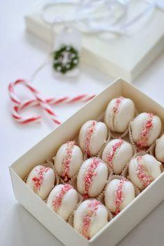 """di cuore"": sweet and scrap for xmas (macaron candy cane) (macaron cake christmas) Christmas Sweets, Christmas Goodies, Christmas Candy, Christmas Time, Xmas, Macarons Christmas, Pink Christmas, Macaron Cookies, Macaron Recipe"