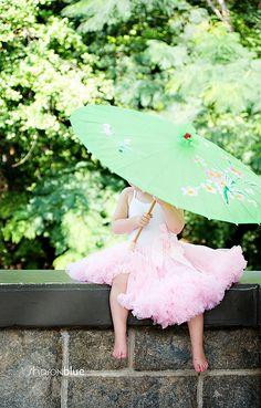 pink tutu & pale green parasol