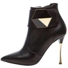 Pre-Owned Nicholas Kirkwood Geometric Ankle Boot With Gold Heel Pumps ($455) ❤ liked on Polyvore featuring shoes, boots, ankle booties, black, ankle bootie boots, black bootie, black ankle booties, gold ankle booties and bootie boots
