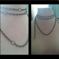 Gunmetal /crystal. 2 Chains.  Drop Waist Belt Optioins  Wear as a necklace. Or . a Daring Drop waist belt   Will add exact measurements upon request Accessories Belts