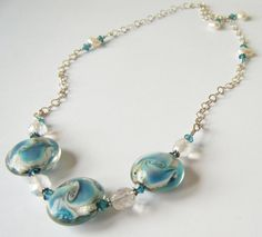 Awesome Necklace, by Miss Keiara. ❤  Seabreeze Lampwork Pearl Swarovski Crystal Sterling by bykeiara, $48.00