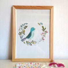 Affiche pour décorer la maison, illustration d'un oiseau, feuillage, fleurs