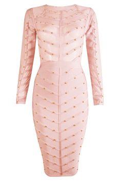 Dream it Wear it - Long Sleeve Studded Mesh Midi Bandage Dress Pink, 111,36€ (http://www.dreamitwearit.com/long-sleeve-studded-mesh-midi-bandage-dress-pink/)