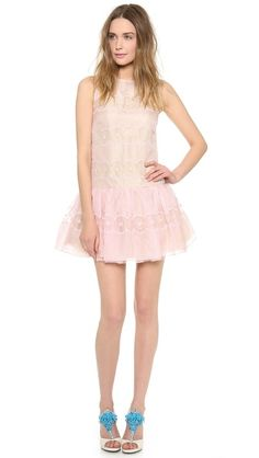 RED Valentino Cutout Embroidered Dropwaist Dress-how feminine and romantic in a playful way!
