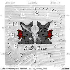 Cute Scottie Puppies Personalize Square Wall Clock