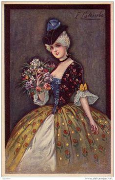 ART DÉCO : JEUNE FEMME avec CHAPEAU et BOUQUET DE FLEURS - ILLUSTRATION SIGNÉE: E. COLOMBO - ANNÉE: ENV. 1920 (i-008)