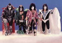 KISS looking like real life action figures in the 1979 Dynasty costumes.