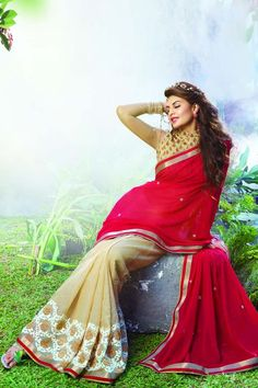 Red and Cream Jacqueline Fernandez Designer Saree