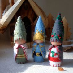 Holiday Trio of Gnomes Ornament Waldorf Inspired Storytelling Natural Play