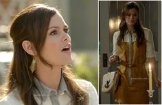 Zoe's yellow, white and grey shirtdress and gold spiked earrings on Hart of Dixie http://wornontv.net/11455/
