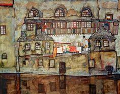 Bild:  Egon Schiele - Hauswand am Fluß