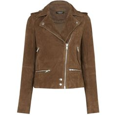 Suede Biker Jacket ($178) ❤ liked on Polyvore featuring outerwear, jackets, brown suede jackets, brown suede leather jacket, brown jacket, suede moto jackets and brown motorcycle jacket