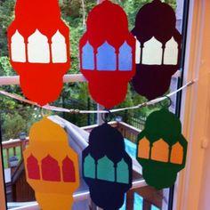 Lanterns! Template taken from Peter Gould's Ramadan Fun Pack.