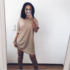 """nice N i n n i   C. N g u y ê n  on Instagram: """"Oversized tee dress/ @stellyclothing """" by http://www.globalfashionista.xyz/k-fashion/n-i-n-n-i-c-n-g-u-y-e-n-on-instagram-oversized-tee-dress-stellyclothing/"""