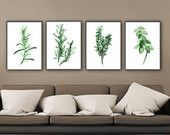 Wall Art Set of 4 Green Botanical Art Prints of my archival watercolor paintings