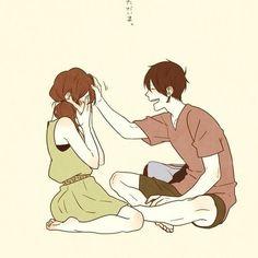 Imagen de couple, anime, and art