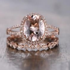 Rose Gold Morganite Engagement Ring Set Diamond Wedding Rings Set Oval Pink Morganite Ring Diamond Eternity Band Split Band Oval Cut Pink Morganite Ring Bridal by kilarjewelry on Etsy Wedding Rings Rose Gold, Rose Gold Engagement Ring, Bridal Rings, Vintage Engagement Rings, Diamond Wedding Bands, Wedding Jewelry, Halo Engagement, Diamond Rings, Gold Wedding