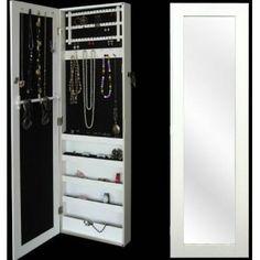 Espejo de pared blanco con joyero