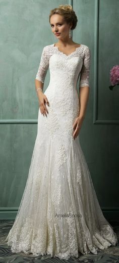 Long Sleeves Lace Fit and Flare Wedding Dress | Pinterest | Wedding ...