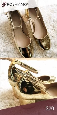 gold heels gold heeled shoes with strap. worn once. asos ASOS Shoes Heels