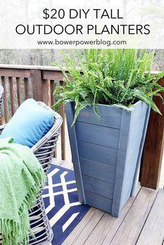 $20 DIY Tall Outdoor Planters | Bower Power Blog