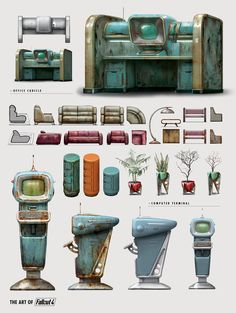 View an image titled 'Office Furnishings Art' in our Fallout 4 art gallery featuring official character designs, concept art, and promo pictures. Fallout Props, Fallout Art, Bg Design, Prop Design, Concept Art World, Game Concept Art, Fallout 4 Concept Art, Carros Vw, Arte Robot