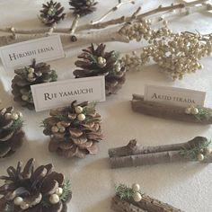 「✴︎ 【Place cards】 ・ ・ 松ぼっくりver.はこんな感じで♡ ・ ・ 統一感あるように枝と同じ、杉とペッパーベリーを付けました.。.:*☆ ・ ・ バランス見て散りばめたらミニツリーぽくなった♪ ・ ・ 80ヶ完了〜っ*(^o^)/*」 Christmas Wedding, White Christmas, Christmas Crafts, Christmas Decorations, Wedding Name, Diy Wedding, Wedding Flowers, Woodland Wedding, Wedding Place Settings
