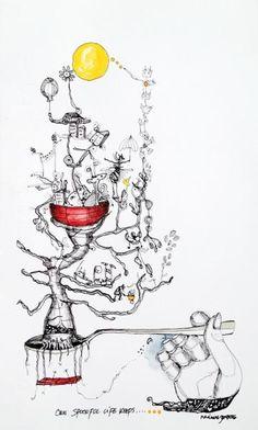 www.artunika.dk / www.artunika.com One Spoon Full Life - 33 x 20. En original kunst tegning af kunstner Marianne Stenberg. Tegningen kommer ikke indrammet.  Kunstner Marianne Stenberg arbejder primært på papir, hvorpå hun skaber tusch-tegninger med kalligrafi-pen. Steenberg er kendt for he...