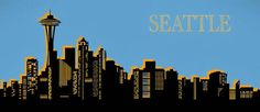 Skyline Silhouette, Prints For Sale, Seattle Skyline, Pop Art, Wall Art, Artwork, Photography, Travel, Work Of Art
