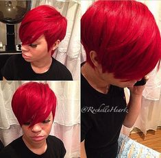 Yasssss Quick weave pixie for the birthday gal! Short Quick Weave Styles, Short Quick Weave Hairstyles, Short Hair Cuts, Short Hair Styles, Red Hair Quick Weave, 27 Piece Quick Weave, Red Weave, Black Weave, 27 Piece Hairstyles