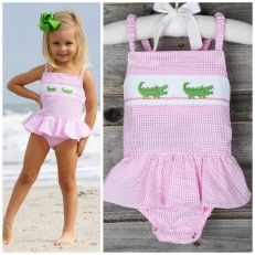 Smocked Alligator 1pc Swimsuit Pink Gingham