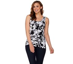 Add some visual interest to your layering routine with this tie-dye tank by skinnytees. Page 1 QVC.com