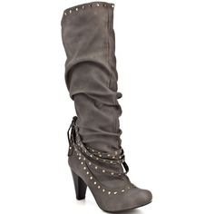 Not Rated Women's Sapphire Boot - Grey ($70) ❤ liked on Polyvore featuring shoes, boots, zapatos, sapatos, heels, women, trendy, rounded toe, not rated and knee boots
