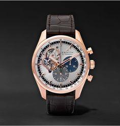 5021c730bd4 ZENITH El Primero Chronomaster 42mm 1969 Rose Gold and Alligator Watch.   zenith  fine