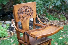 Antique High Chair/dutch carving - I actually have one of these but it doesn't have the carving or the tray. It was made to scoot up to the table. It is a beautiful piece that I actually use for the grand kids. Wooden Baby High Chair, Wooden High Chairs, Antique High Chairs, Vintage Chairs, Recycled Furniture, Antique Furniture, Stokke High Chair, Folding Camping Chairs, Flea Market Decorating