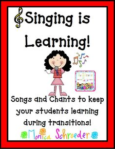 Singing is Learning is a compilation of many of the songs and chants that I use during the school year to keep my students focused and learning. Singing/Chanting is a huge part of my management system. I never send my students back to their seats with out Classroom Management Songs, Classroom Behavior, Music Classroom, Kindergarten Classroom, School Classroom, Behavior Management, Classroom Chants, Classroom Ideas, Kindergarten Chants