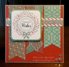 Sparkle and Shine Paper, Stamps used: Remarkable Wreath and Perfect Fit- Holidays. Stamped in CTMH slate, ruby, juniper, and black ink. Added some CTMH Silver Shimmer Trim and CTMH Sparkles Clear Assortment for added bling!