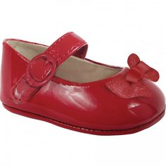 Baby Deer Red Patent Skimmer Crawling Shoe with Bow and Hook and Loop Closure