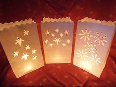 10 Lichttüten Luminarias Weihnachten Weihnachtsdeko Windlicht Deko Tüten Herbst | eBay
