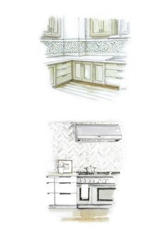"""""""To open things up, choose stone mosaic tiles in a herringbone pattern, or rows of white subway tiles, and extend them all the way to the ceiling (even behind and around the hood), recommends Erin Gates, the interior designer and blogger behind ElementsofStyle.com, and author of the New York Times-bestselling book, Elements of Style."""""""