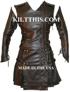 Badpiper Leather Kilt Suit The Baddie incl Black Leather Kilt Leather Vest Leather Sleeves