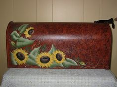 Hand Painted Mailbox with Sunflowers on by PaulasCottageCharm