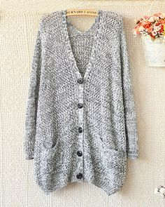 V-Neck Long Sleeve Knit Sweater Cardigan | Sniydan - Clothing on ArtFire