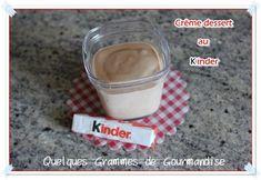 Crème dessert au Kinder via Quelquesgrammesdegourmandise Thermomix Desserts, Glass Of Milk, Yogurt, Deserts, Veggies, Nutrition, Cooking, Recipes, Food