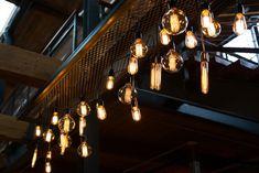 Lighting and Chandeliers enhance Modern Southern Weddings #industriallighting #modernwedding #urbanwedding