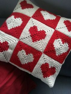Diy Crafts - Crochet Pillow Cover with Hearts,Crochet Pillow Cover,Crochet Squares Pillow Cover,Decorative Crochet Pillow Cover,Valentine's Day Gift b Crochet Cushion Cover, Crochet Cushions, Crochet Pillow, Crochet Squares, Crochet Motif, Free Crochet, Crochet Patterns, Diy Pillow Covers, Decorative Pillow Covers