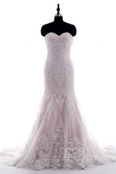 Trumpet-Mermaid Sweetheart Natural Court Train Tulle Ivory/Pink Sleeveless Wedding Dress Appliques LD3906