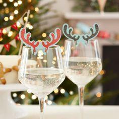 déco Noël fait maison - décorer les verres à vin de marque-verre bois de renne