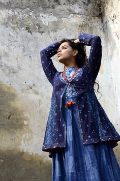 Indigo kalidar tie up jacket with thread embroidery