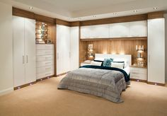 built-in wardrobe around bed - Corner furniture for space saving bedroom design, modern fitted furniture for storage